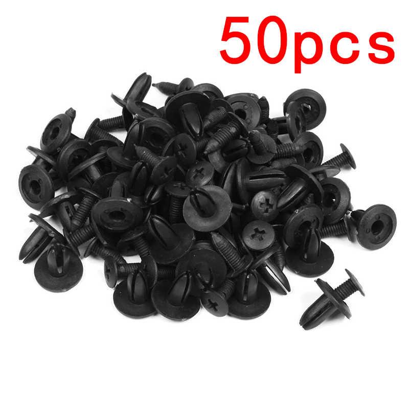 50 個ブラックユニバーサル車のバンパーフェンダー 6 ミリメートル穴黒プラスチックリベットファスナー自動車の付属品