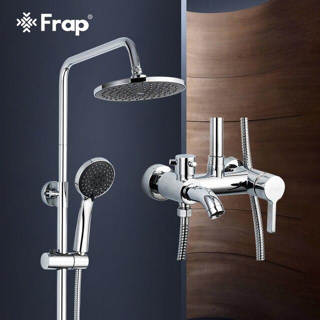 Frap 1 セット浴室の降雨シャワー蛇口セットミキサータップハンドスプレーでウォールマウントクロームF2416