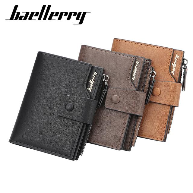 Hasp Men Vintage short leather card wallet