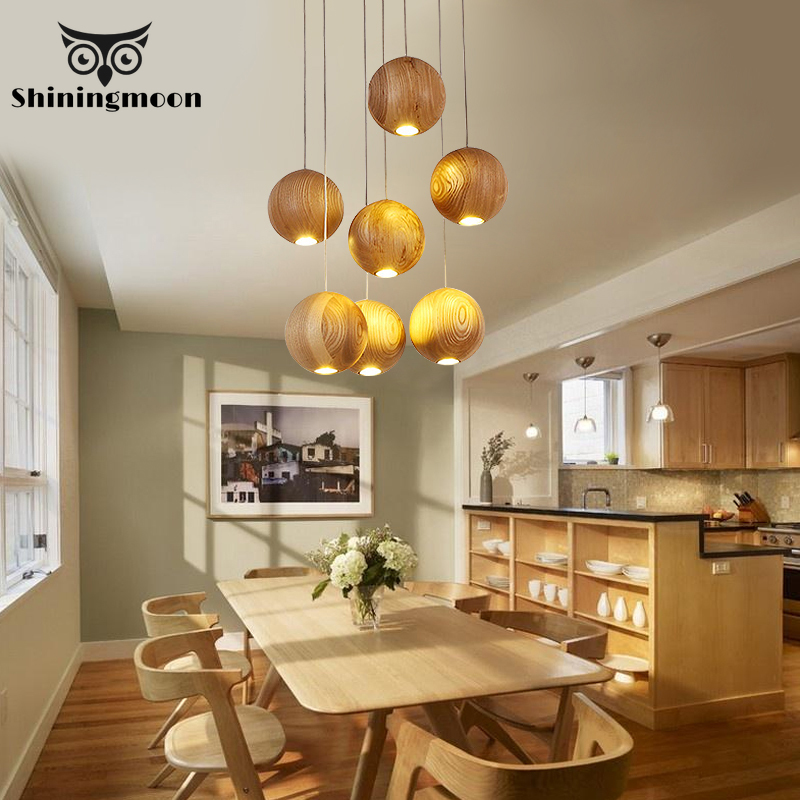 Nordic Solid Wood Ball Pendant Lights Chinese Classical Led Kitchen Dining & Bar Pendant Lamp Decor Lamps Hanging Lamp Luminaire
