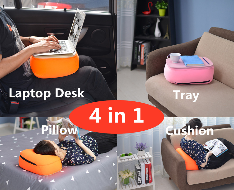 Portable Laptop Desk/Stand  Car Seat Cushion  Tea/File/Storage Tray  Nap Pillow 4in1  Notebook Stand for Pad/Phone/Mac|Laptop Desks| |  - title=