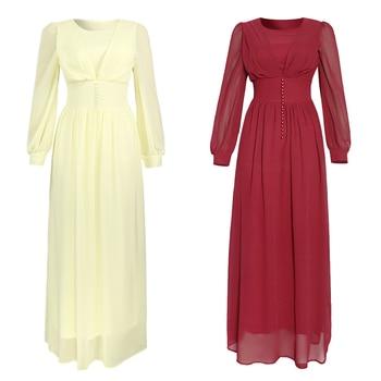 Muslim Hijab Dress 2020 Women Solid Button Chiffon Eid Mubarak Party Evening Long Dress Arabic
