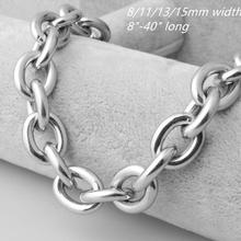 7-40 Huge Charming Jewelry Mens 316L Stainless Steel Silver Big O Link Chain Necklace High Quality 8/11/13/15mm Not Fades