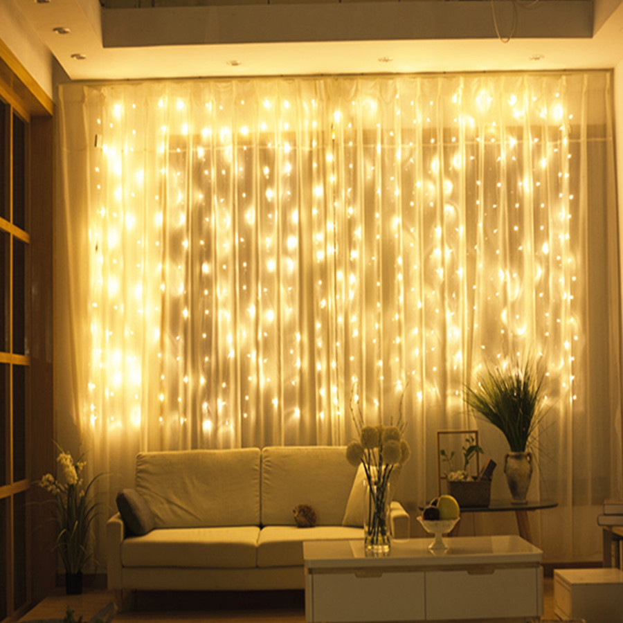 Thrisdar 3x2M 3x3M Outdoor Curtain Icicle String Garland Light Wedding Party Christmas LED String Window Icicle String Light