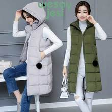 Women Winter vest long Casual Slim thick zipper warm Autumn winter hooded sleeveless waistcoat female