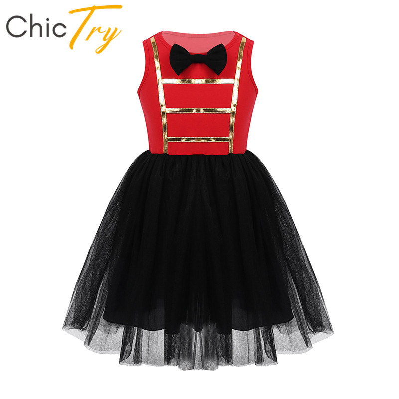 ChicTry Children Sleeveless Bowtie Mesh Tutu Dress Kids Halloween Cosplay Party Carnival Performance Outfit Girls Circus Costume