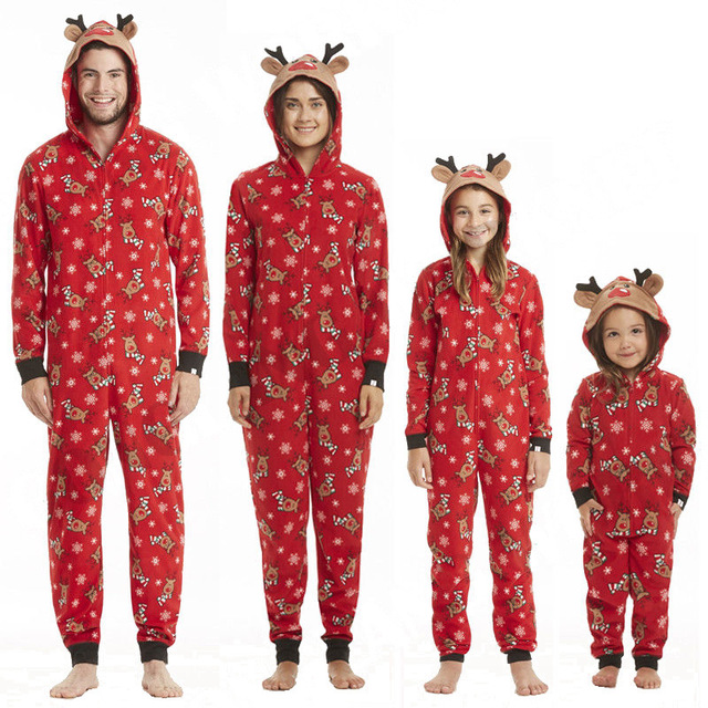 2020 Christmas Family Matching Pyjamas Adult Kid Baby Family Matchint Outfits Pajamas Deer Romper Family Look Matching Jumpsuits