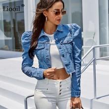 Blue Cropped Denim Jackets Women 2021 Puff Sleeve With Button Pockets Vintage Coat Autumn Winter Streetwear Ripped Jean Outwear