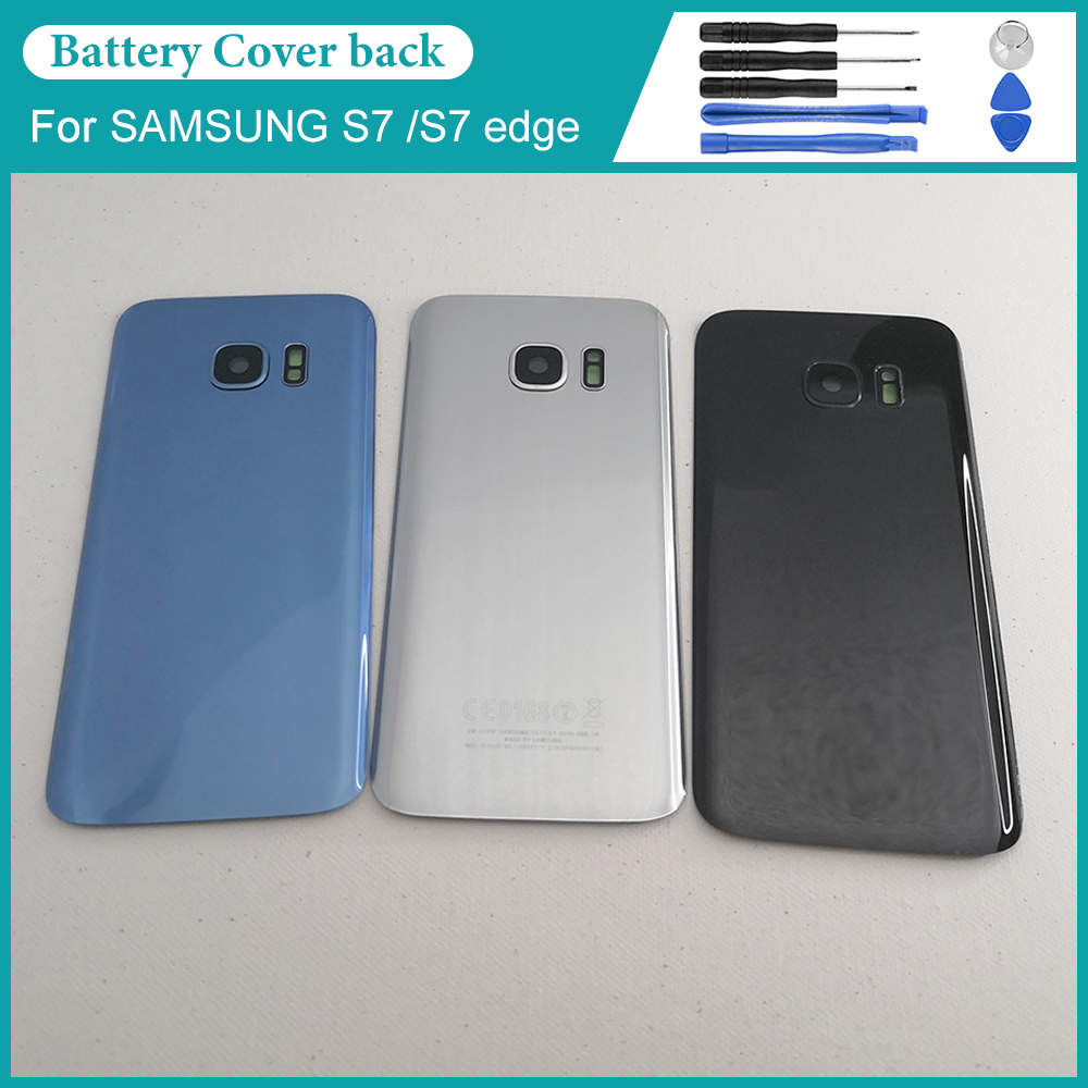For Samsung Galaxy S7 G930F / S7 EDGE G935F battery back cover rear door shell replacement repair parts + glass frame image