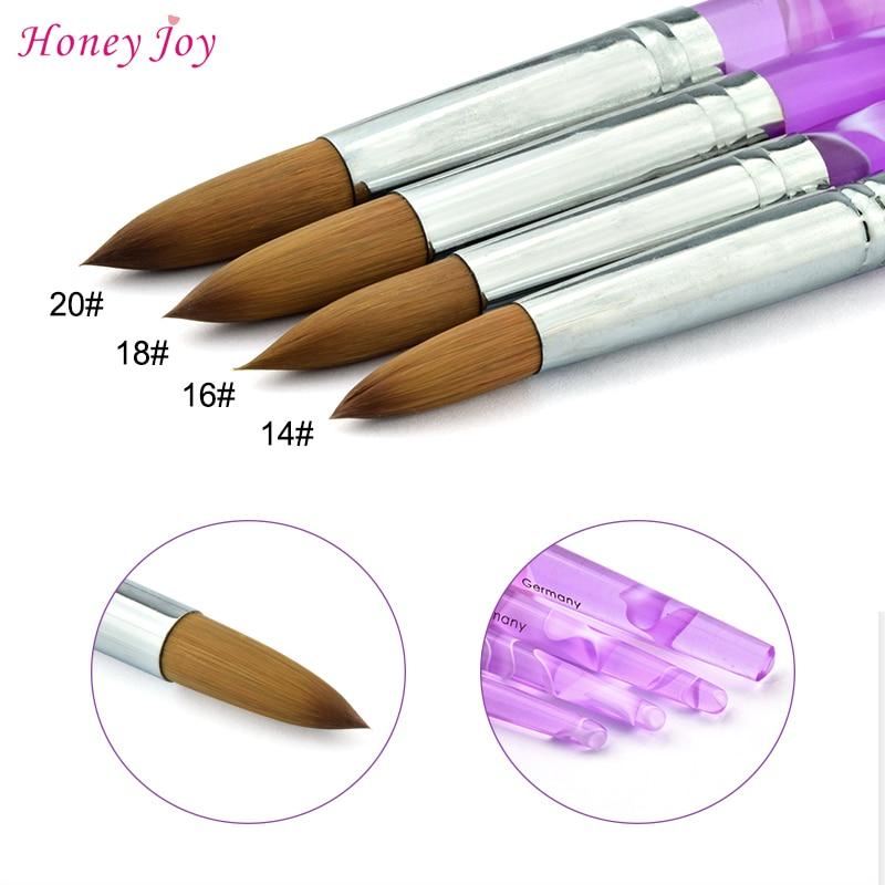 Promotion New Arrival Size #14 Kolinsky Professional Painting Nail Acrylic Brush Purple Handle Acrylic Pincel Liquid Powder Pen