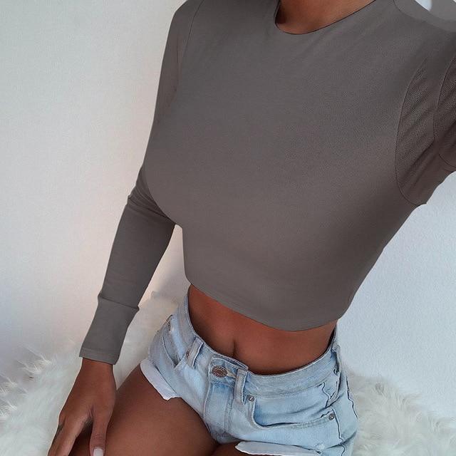Solid Basic Long Sleeve Womens Tshirt Casual Black White Fashion Crop Top T Shirt Ladies Fashion Korean Tee Shirt 4
