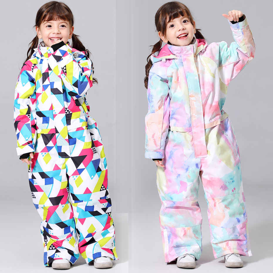 2019 New Kids Ski Suit For Girls Winter -30 temperature Children Windproof Waterproof Super Warm Snow Ski And Snowboard Clothes