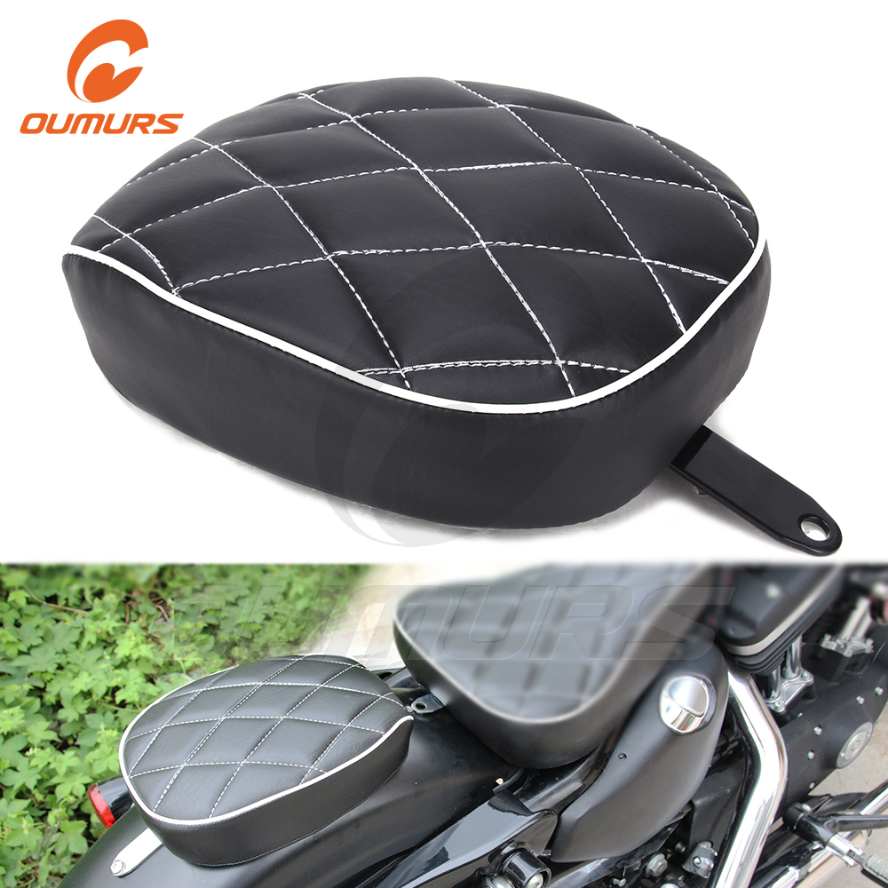 OUMURS Motorcycle Black Passenger <font><b>Rear</b></font> <font><b>Seat</b></font> Pad Leather Pillow For Harley Sportster XL1200 <font><b>883</b></font> Forty Eight Seventy Two <font><b>Iron</b></font> <font><b>883</b></font> image