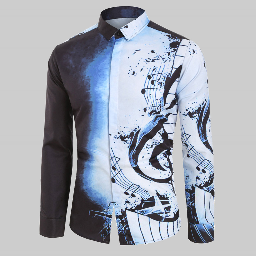 Casual Men Shirt Musical Note Pattern Long Sleeves Shirt Blouse Rock Guitar Print Designer High Quality Rapper Harajuku Camisa