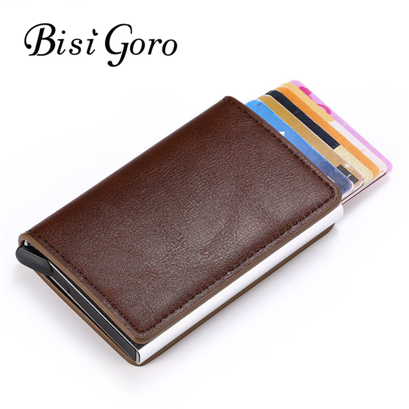 BISI GORO Smart Wallet Aluminum Box Credit Card Holder For Men And Women Slim Wallet RFID Holder Card Case Business Card Wallet