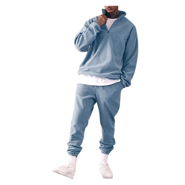 Sweatshirts Set Men Winter Warm Fashion 2021 Men's Jogger Tracksuit Solid Stand Collar Sweatshirt Casual 2 Pieces Sports Suits 6