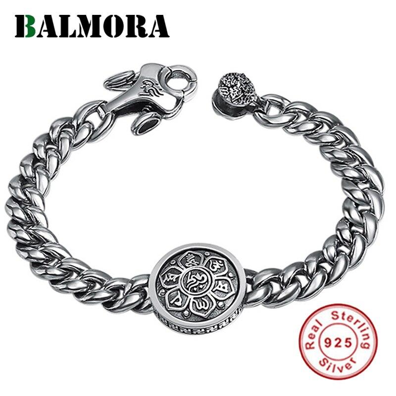 BALMORA Real925 argent Sterling 360 bouddhisme rotatif rapide Six mots Bracelet de Sutra pour hommes femmes cadeau bijoux de mode Vintage-in Bracelets from Bijoux et Accessoires    1