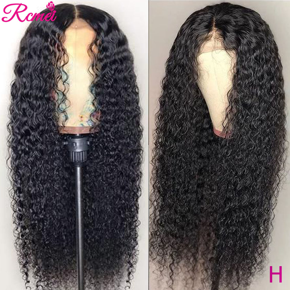 13x1 Kinky Curly Lace Front Human Hair Wigs Brazilian Middle Lace Part Front Wig Pre Plucked With Baby Hair Remy Hair Wig 150%