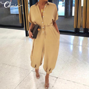 Celmia Jumpsuits Women Pants Rompers Overalls Short-Sleeve Buttons Loose Sexy Plus-Size