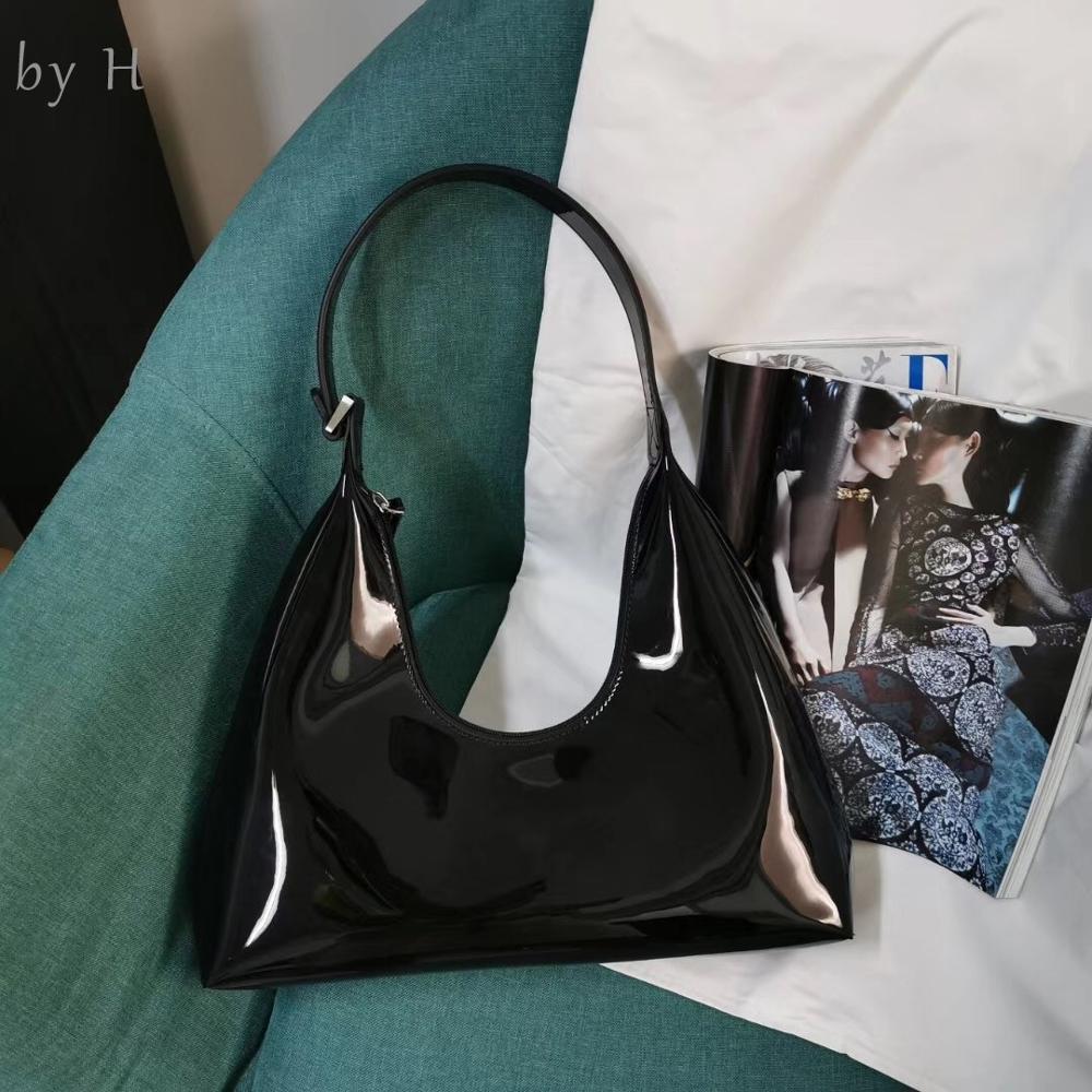 by H 2019 Newest Shoulder Bag Patent Red Baguette Women's Chic Handbag Fashion Designer Single Handle Black Purse Parisian Vibe