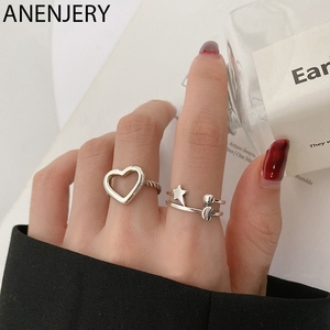 ANENJERY Hollow Love Heart Star Round Ball Thai Silver Color Ring for Women Adjustable Finger Ring Jewelry S-R850