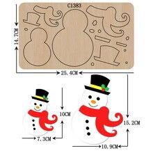 Nuovo pupazzo Di neve di Natale di Legno die Scrapbooking C 1383 Fustelle Formati Multipli