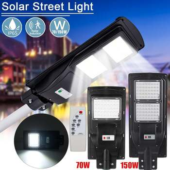 70W 150W Solar Street Light PIR Sensor Light Control Remote Control Outdoor Wall Lamp for Garden Courtyard Walkway Pathway Light