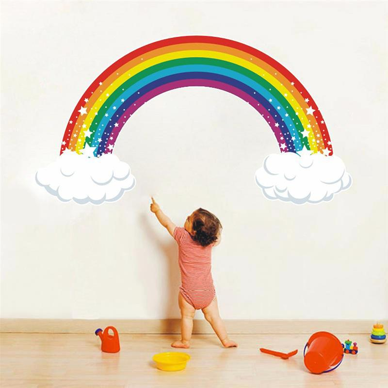 Creative Wallpaper Cartoon Wall Sticker Cloud Rainbow Sticker Background Wall Decal For Home Room