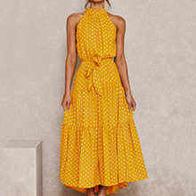 Summer Hot Sales Cotton Sleeveless Women Dress Hang A Neck Printing Lace-Up Pullovers Casual Dress