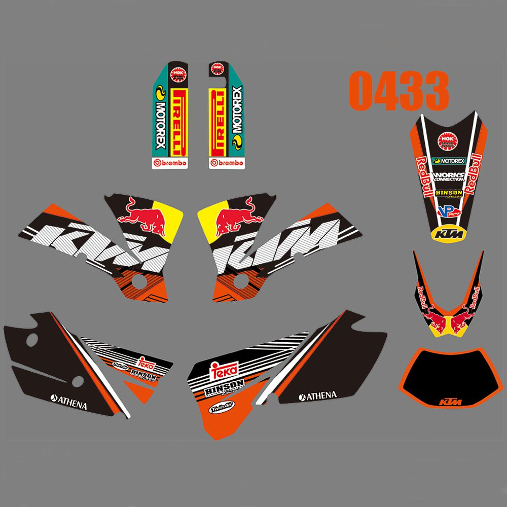 Full Graphics Decals Stickers Kit Custom Number Name Glossy Stickers Waterproof For KTM 125 200 250 300 400 450 525 EXC 2004