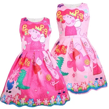 Peppa Pig Girl Summer Short Sleeve Dress Princess Party Vest Dress For Girl's Birthday Cosplay Costume Kids Toddler Clothes baby girl clothes princess dress clothes short sleeve lace bow ball gown tutu party dress toddler kids fancy dress 0 7y