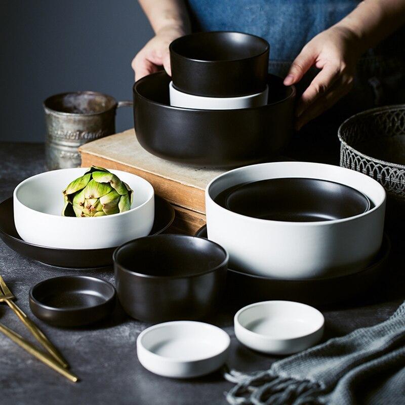 MUZITY assiettes en céramique avec bols   Service de vaisselle en porcelaine, plats ronds et bols à soupe - 2