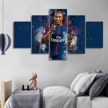 Famous Football Stars 5 Pieces Paris Saint-Germain Mbape Posters Canvas Paintings Wall Art Sports Print Picture Kids Room Decor