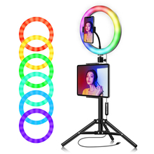 zomei 10inch selfie led ring light with stand camera studio light ring for smartphone with phone holder for live video makeup 10'' RGB Ring Light With Phone Tripod Stand Camera Photography Makeup Video Live Studio Selfie LED Light &Tablet Holder for iPad