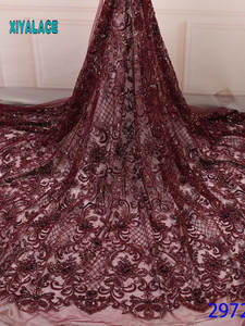 Lace-Fabric Party-Dress French Beaded Tulle Nigerian African High-Quality 3D for YA2972B-3