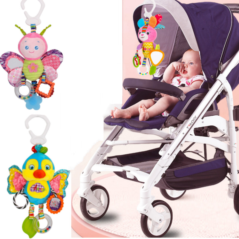 Baby Rattle Toy Stroller Hanging Soft Infant Toy Cute Animal Crib Hanging Bell Toy Elephant Rabbit Dog