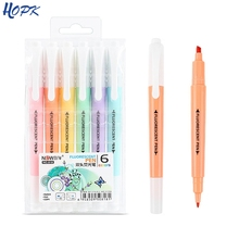 6pcs set Cute Candy color Highlighter Pen Stationery Double Headed Fluorescent marker Pen Mark Pen Office School Supplies cheap hopk CN(Origin) Oblique Normal 6 colors box Office School Markers XJY151