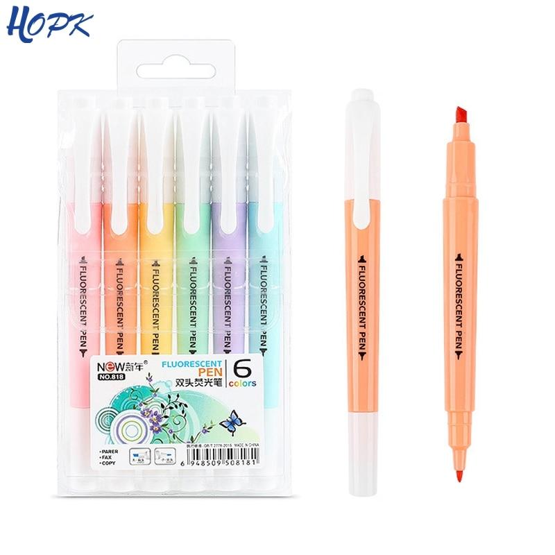 6pcs/set Cute Candy Color Highlighter Pen Stationery Double Headed Fluorescent Marker Pen Mark Pen Office School Supplies