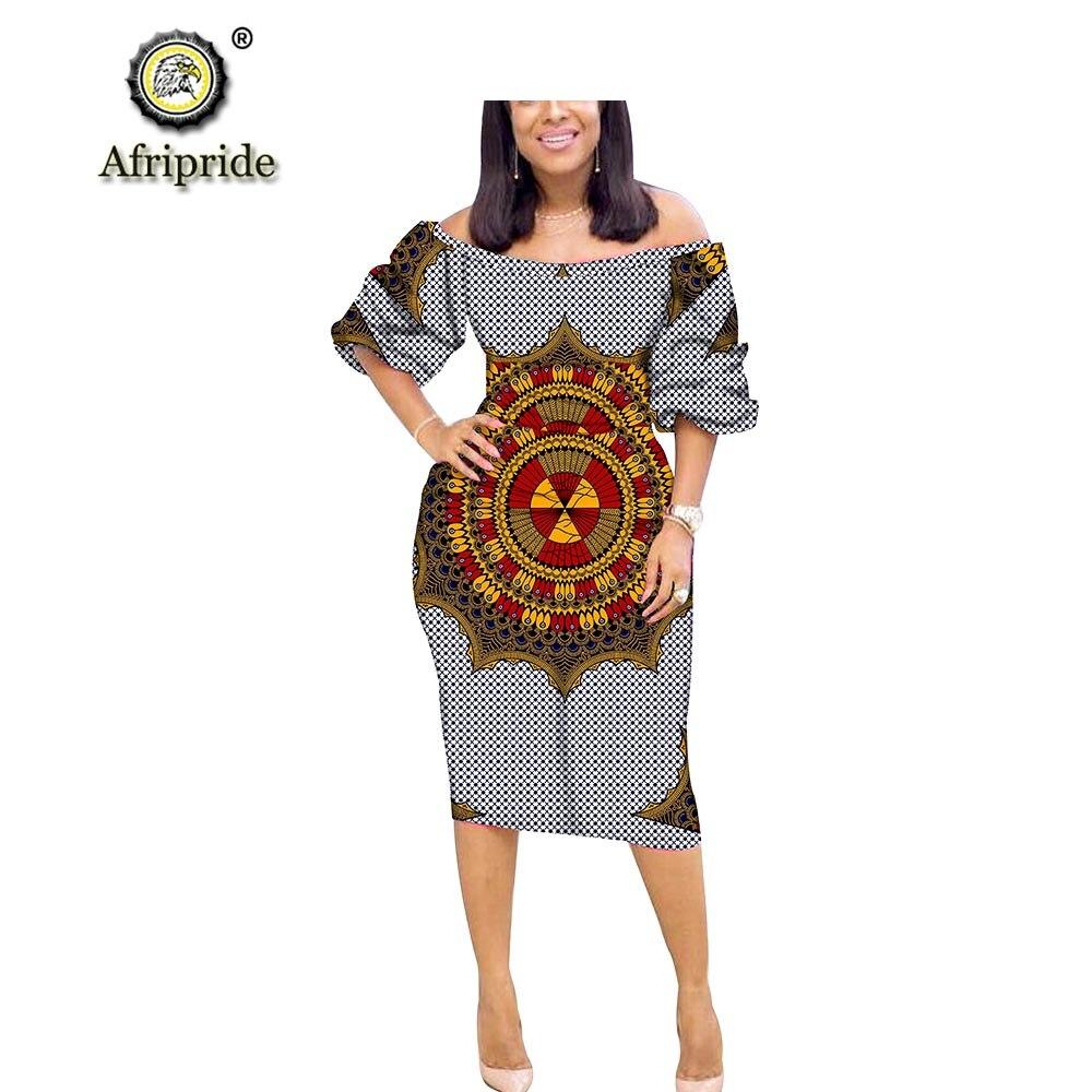 2018 ~ 2019 vestido africano de algodón puro de manga media sin tirantes bazin riche ankara estampado dashiki AFRIPRIDE S1825030-in Vestidos from Ropa de mujer    1
