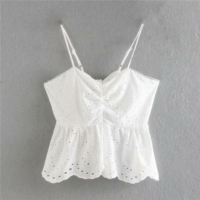 2020 Women V Neck Hollow Out Embroidery White Sling Blouse Female Back Bow Tied Ruffles Shirts Chic Spaghetti Strap Tops LS6633