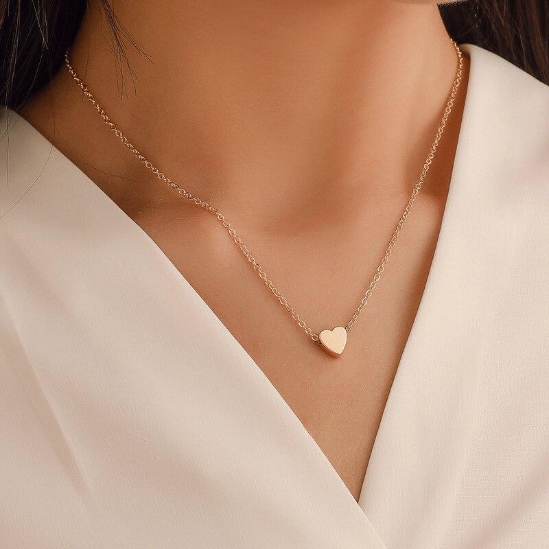 Новинка 2021, простое ожерелье в форме сердца, модный чокер для женщин и девушек, золотой, серебряный цвет, крест, Круглый круглый дизайн, ворот...