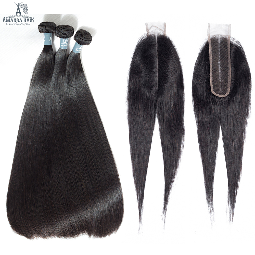 Amanda Kim K Closure With 3 Bundles Brazilian Virgin Hair Straight Double Drawn Unprocessed Human Hair Bundles With Closure