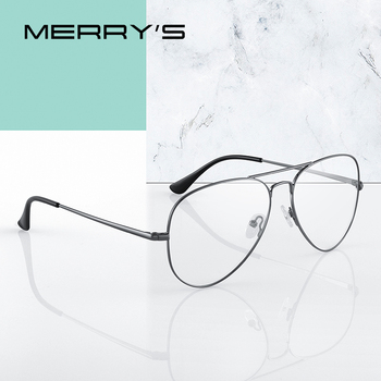 MERRYS DESIGN Men Classic Pilot Glasses Frame Women Fashion Myopia Prescription Glasses Frames Optical Eyewear S2489 Apparels Sunglasses