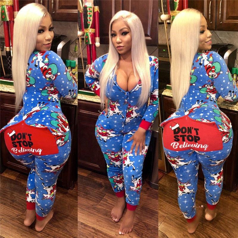Hirigin Womens Sexy Nightwear Christmas Pajamas Sleepwear Pyjamas Fashion Romper New Underwear Casual Printed Jumpsuit Set Xmas