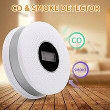 цена на Smoke Carbon Monoxide Detector CO Smoke Alarm With Voice Warning LCD Light Alarm For Home Office Security High Sensitive 1pcs