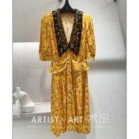 Svoryixu High end Custom Summer Vintage Yellow Daisy Print Dress Women's Sexy Black Lace Embroidery Deep V Neck Dresses