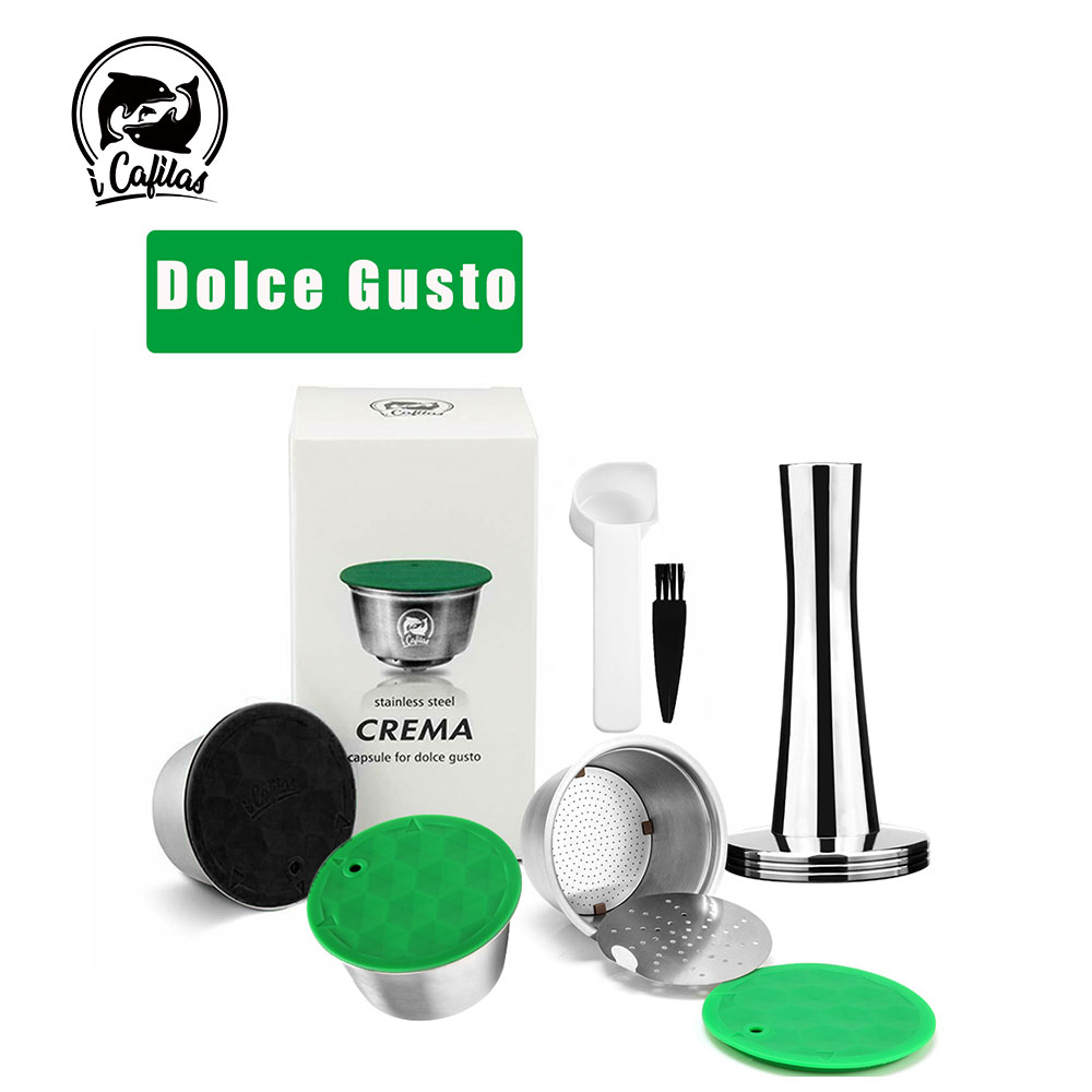 iCafilas Reusable Refillable Capsule for Nescafe Dolce Gusto Coffee Capsule with Lid Stainless Metal Filters Cup Tamper Spoon