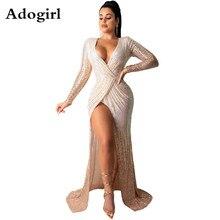 Adogirl Women Sequined Warp V-neck High Split Bodycon Maxi Dress Lady Vintage Sexy Club Night Evening Long Dresses Vestidos