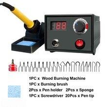 Zestaw maszyn do spalania drewna ze śrubą wyświetlacz cyfrowy regulowana temperatura skóra wielofunkcyjny grawer rysuj narzędzia pirograficzne