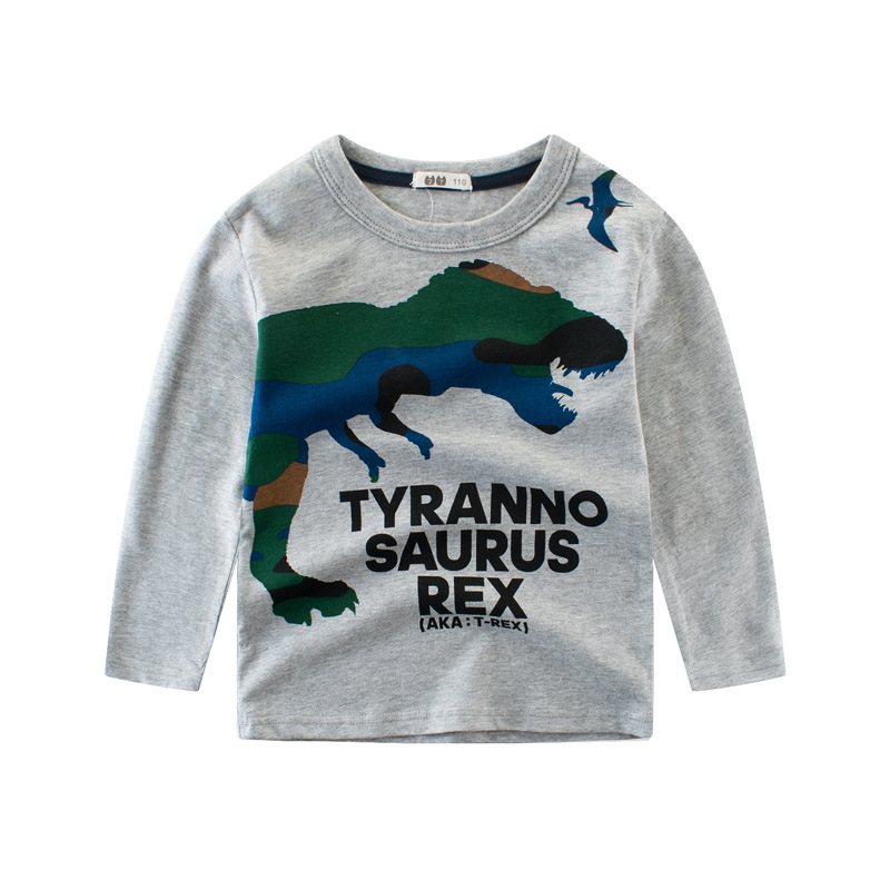 Children T Shirt Long Sleeves Kids Boys Girls Cotton Tops Baby Dinosaur Print Cartoon Clothing Tee 2 8 Years Clothes Full in T Shirts from Mother Kids